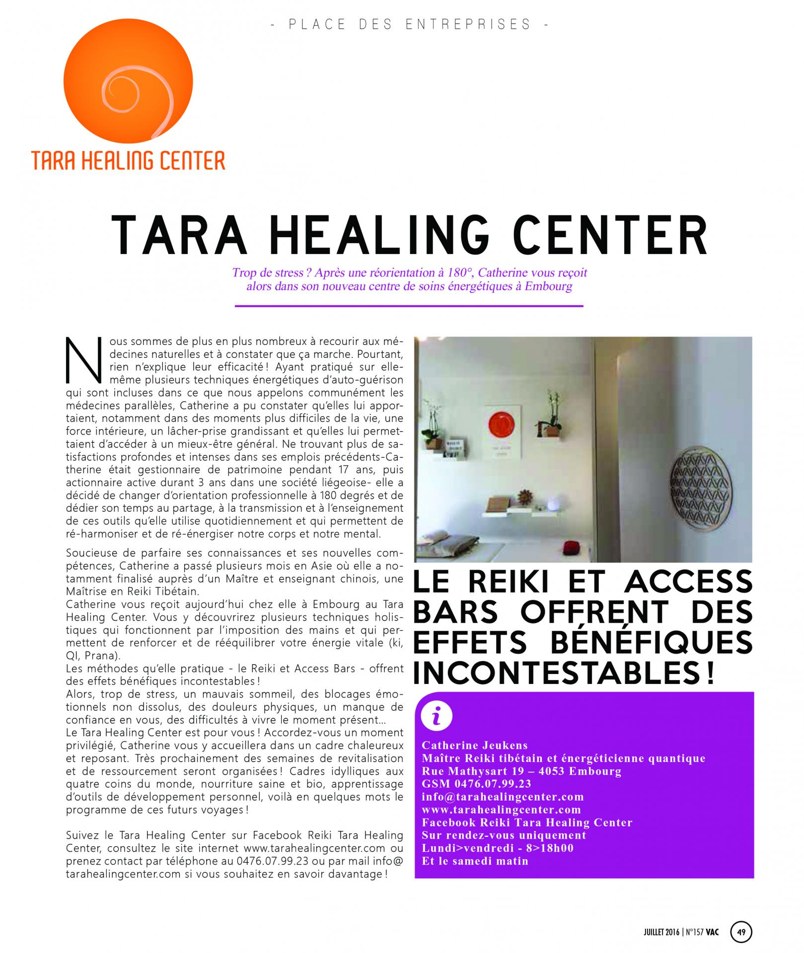 Article du 4 juillet 2016 tara healing center
